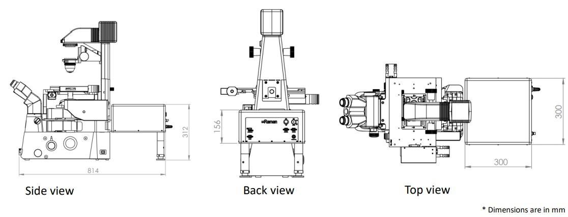 uRaman-i Integrated Raman Microscope Drawing